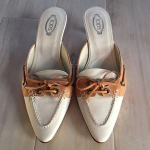 Tod's Vintage Slip-on White & Tan Loafers